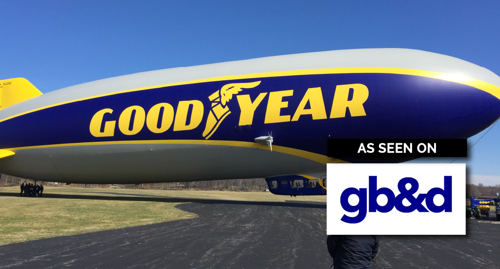 Goodyear blimp after Neverfade coatings was applied
